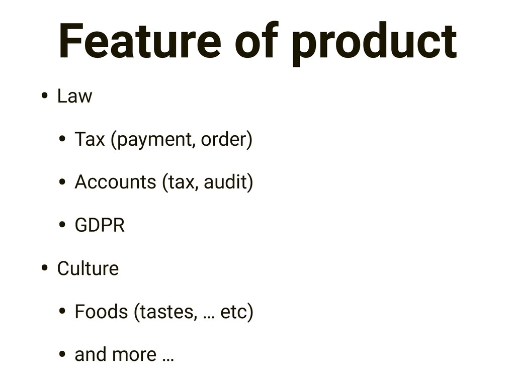 Feature of product • Law • Tax (payment, order)...