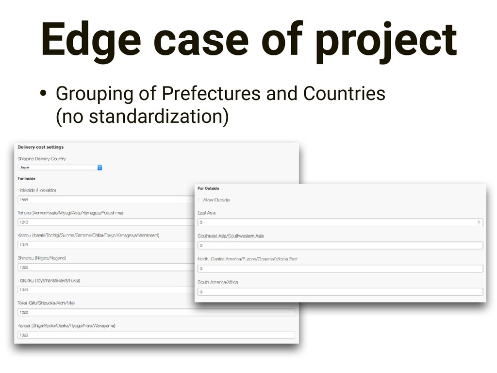 Edge case of project • Grouping of Prefectures ...
