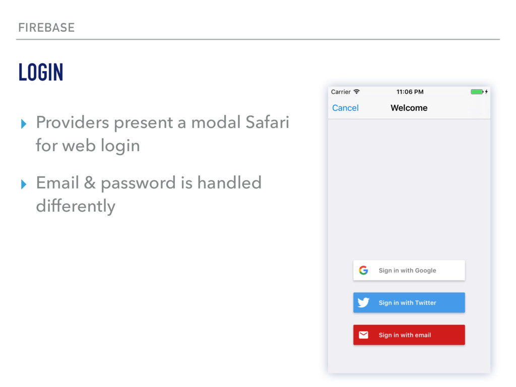 FIREBASE ▸ Providers present a modal Safari for...