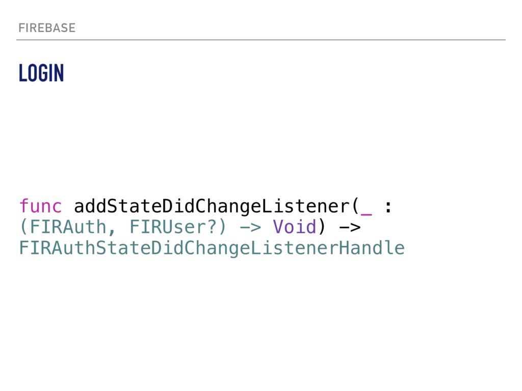 FIREBASE func addStateDidChangeListener(_ : (FI...