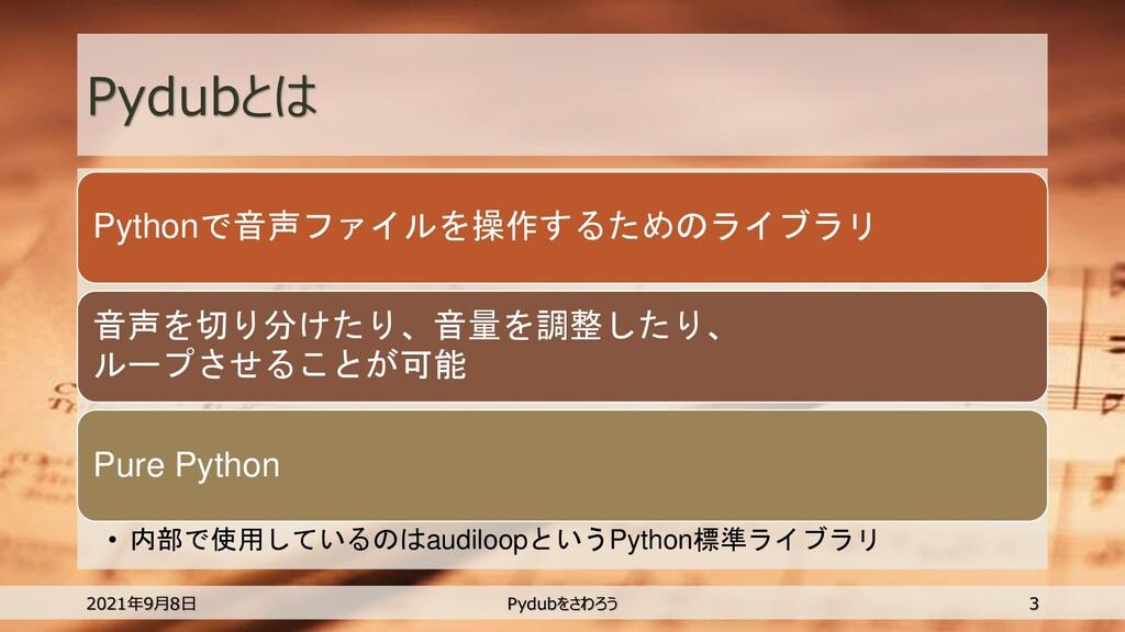 Pydubとは Pythonで音声ファイルを操作するためのライブラリ 音声を切り分けたり、音量...