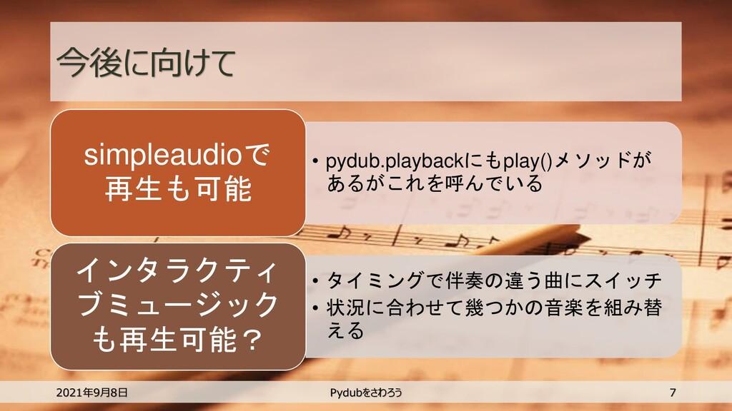 今後に向けて • pydub.playbackにもplay()メソッドが あるがこれを呼んでい...