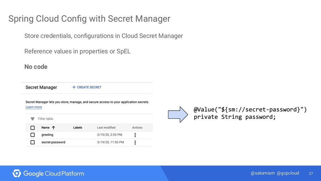 27 @saturnism @gcpcloud Spring Cloud Config with...