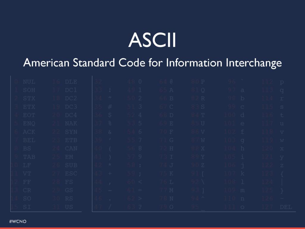 #WCNO ASCII American Standard Code for Informat...