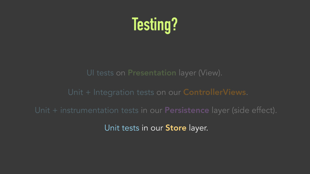 Testing? UI tests on Presentation layer (View)....