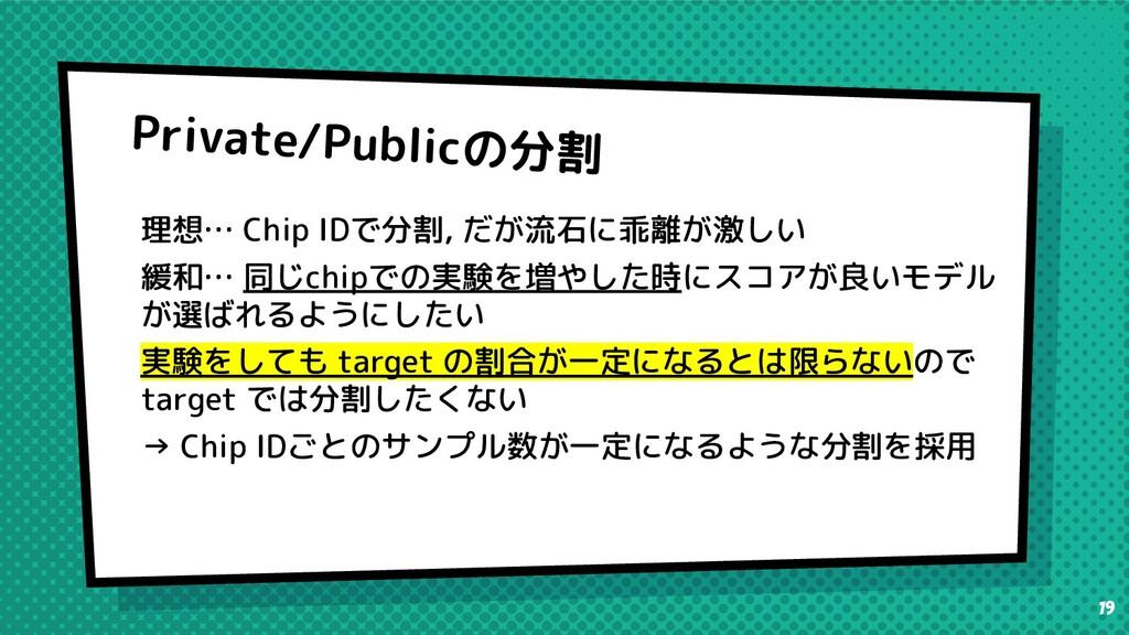 Private/Publicの分割 理想… Chip IDで分割, だが流石に乖離が激しい 緩...