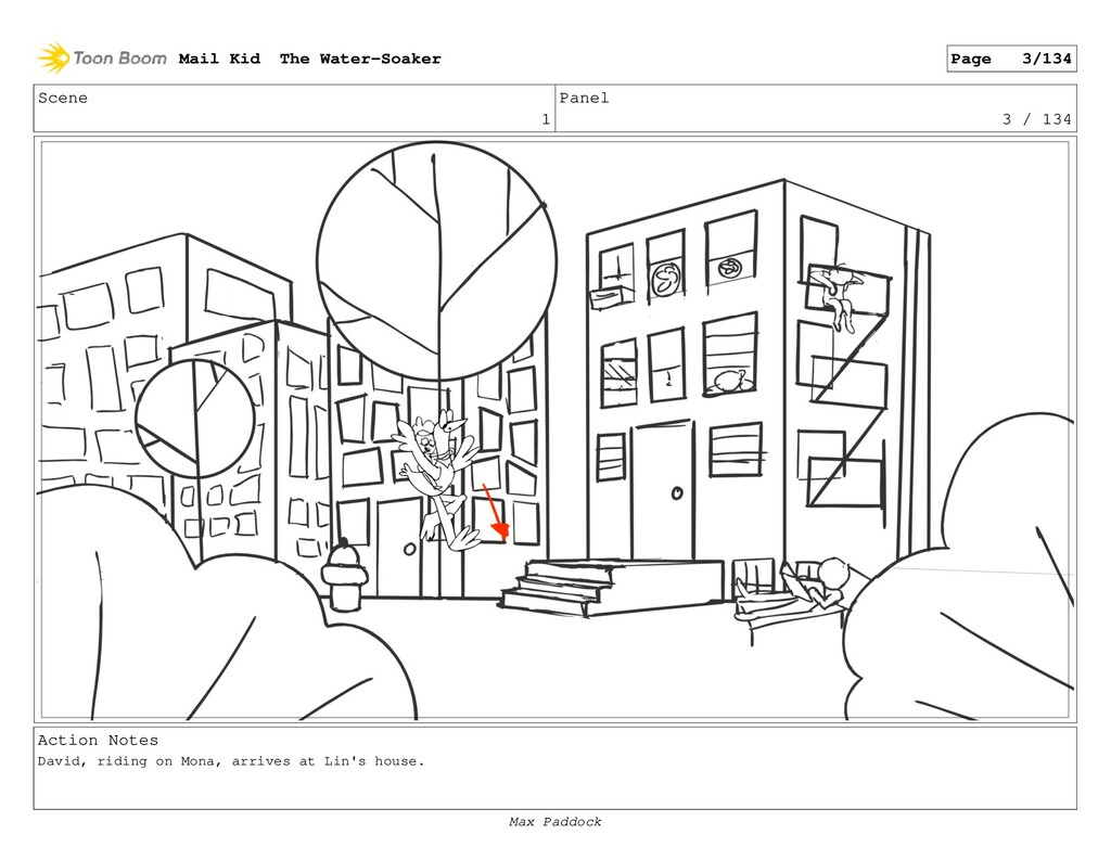 Scene 1 Panel 3 / 134 Action Notes David, ridin...