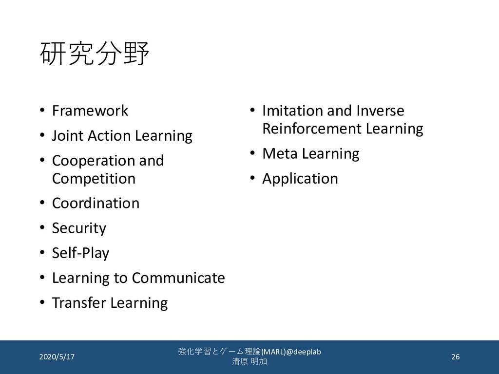研究分野 • Framework • Joint Action Learning • Coop...