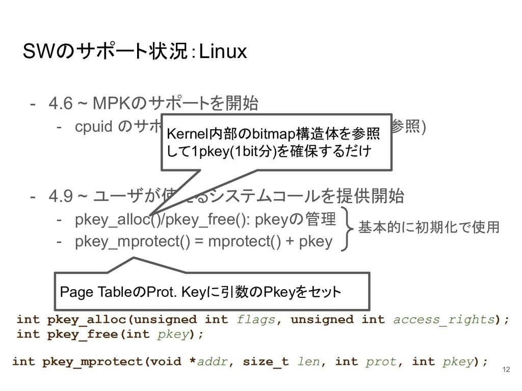 SWのサポート状況:Linux - 4.6 ~ MPKのサポートを開始 - cpuid のサポ...