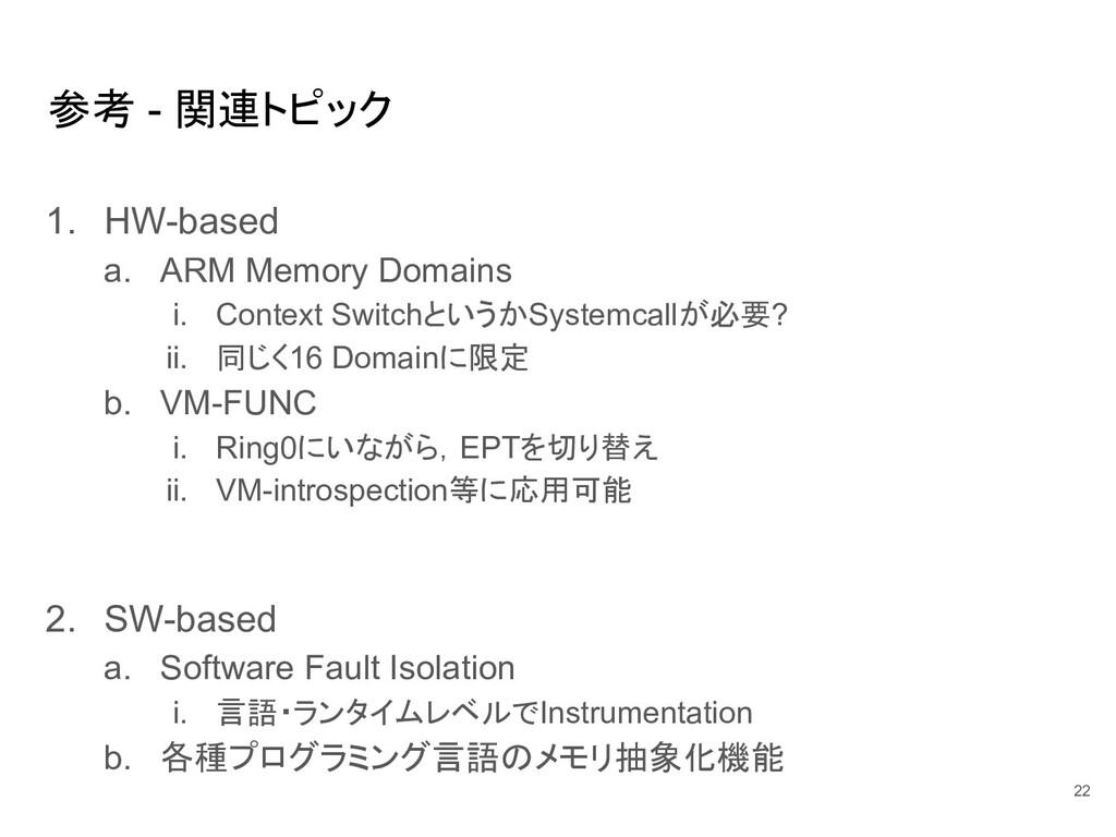 参考 - 関連トピック 1. HW-based a. ARM Memory Domains i...