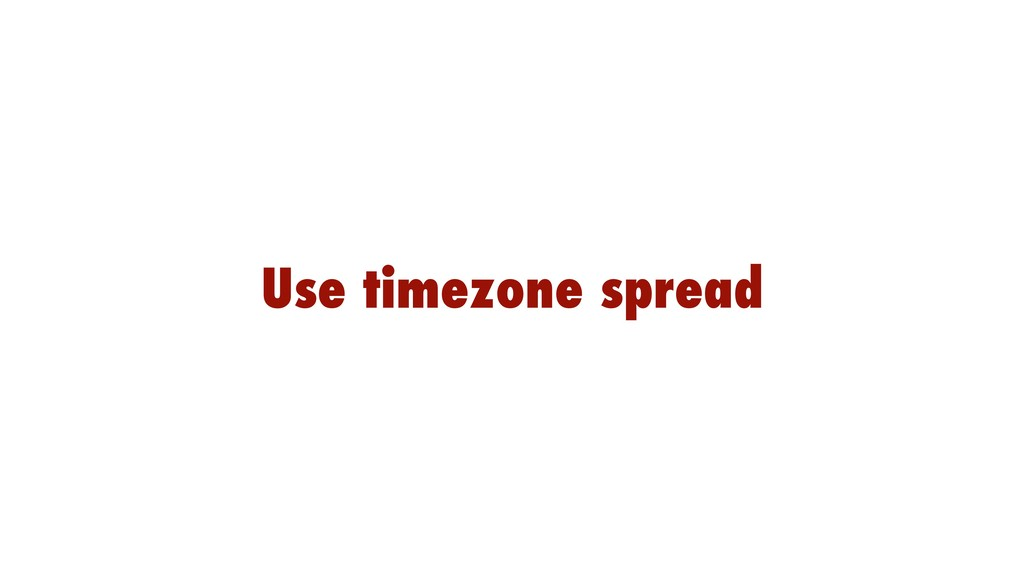 Use timezone spread