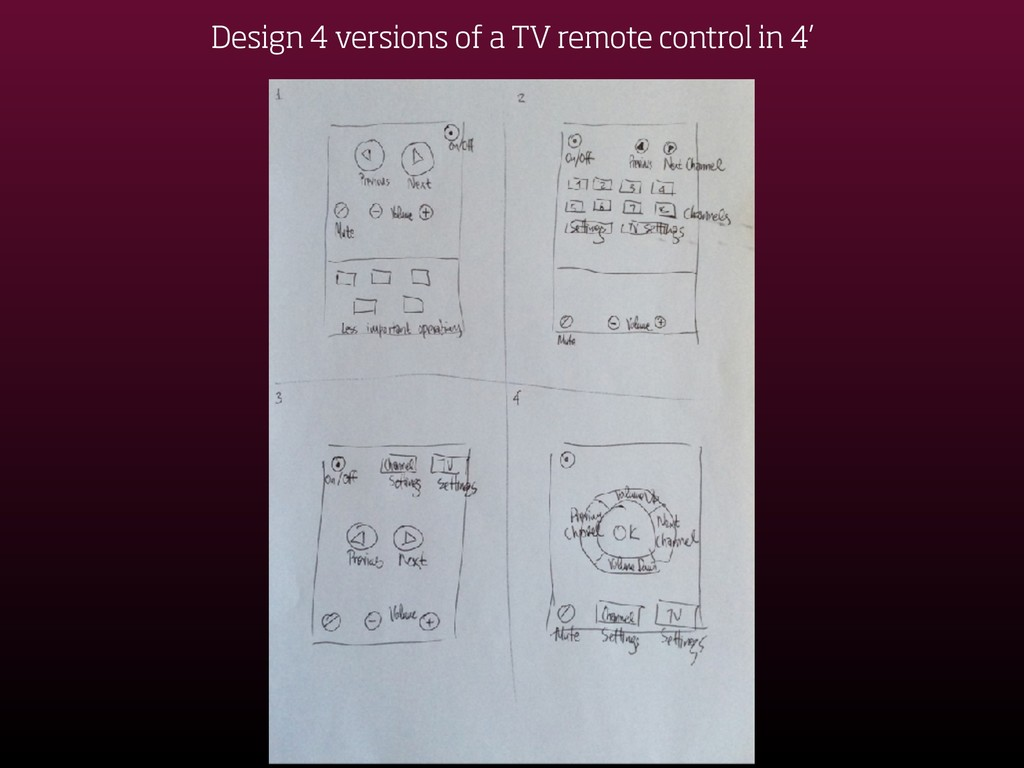 Design 4 versions of a TV remote control in 4'