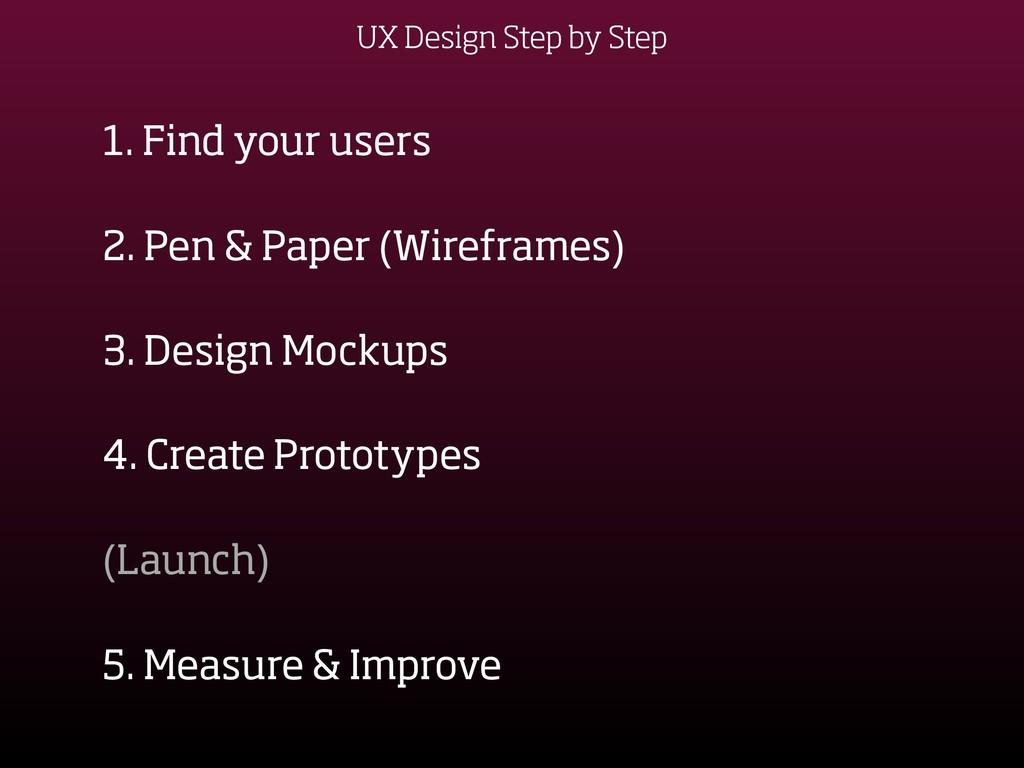 UX Design Step by Step 1. Find your users 2. Pe...