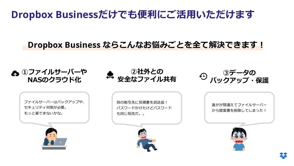 Dropbox Businessだけでも便利にご活⽤いただけます ①ファイルサーバーや NAS...