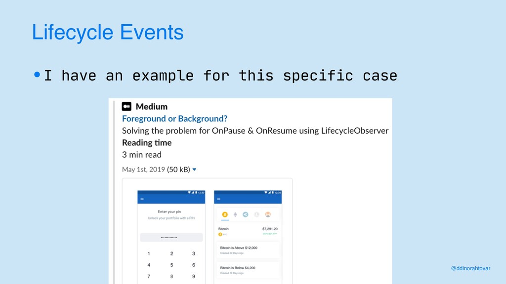 Lifecycle Events •I have an example for this sp...