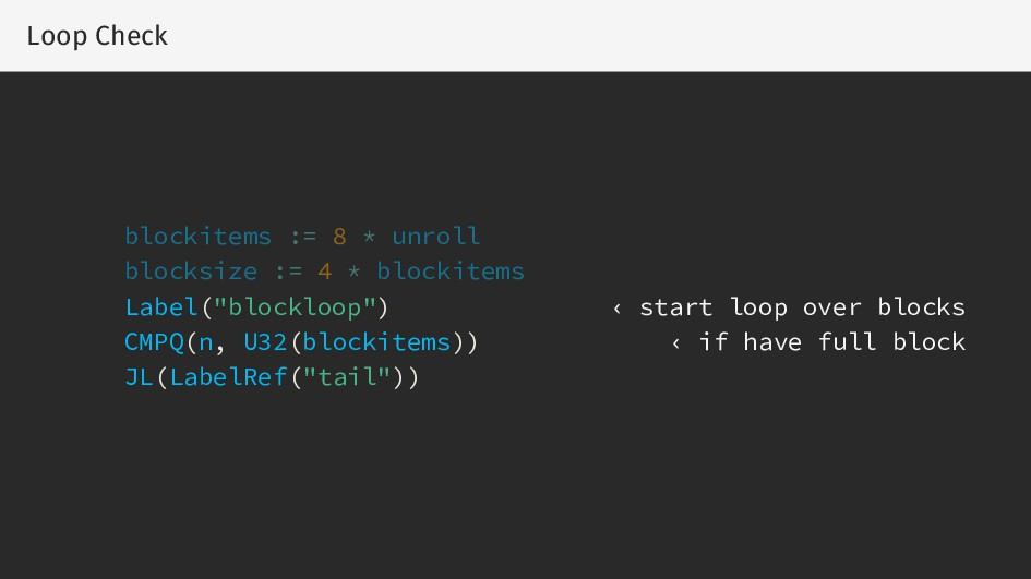 Loop Check blockitems := 8 * unroll blocksize :...