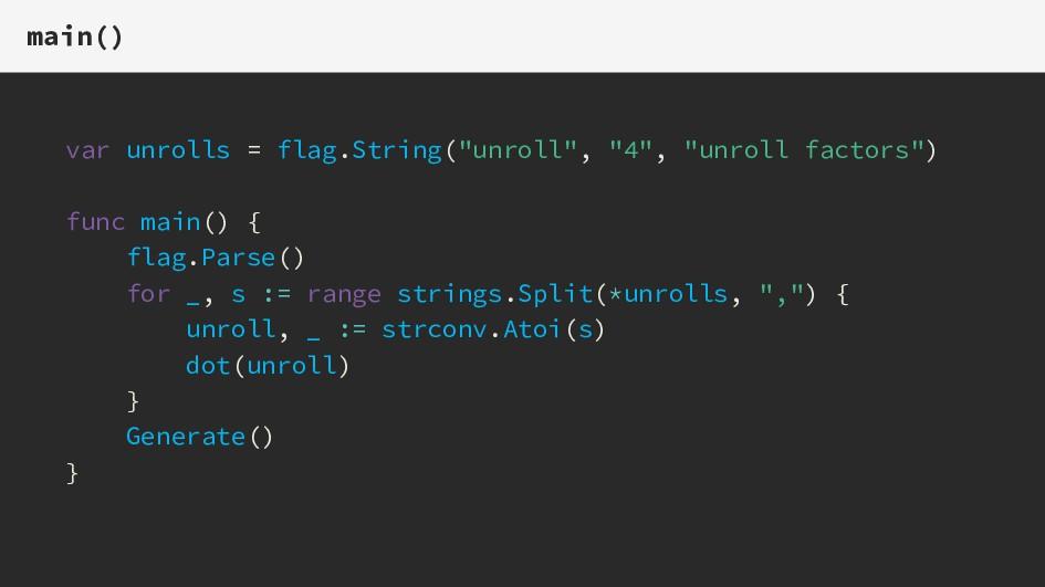 "main() var unrolls = flag.String(""unroll"", ""4"",..."