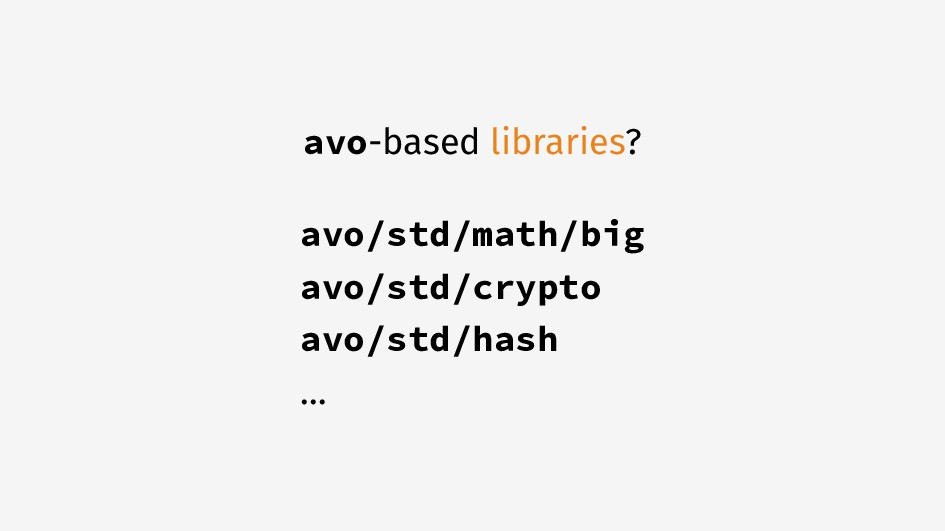 avo-based libraries? avo/std/math/big avo/std/c...