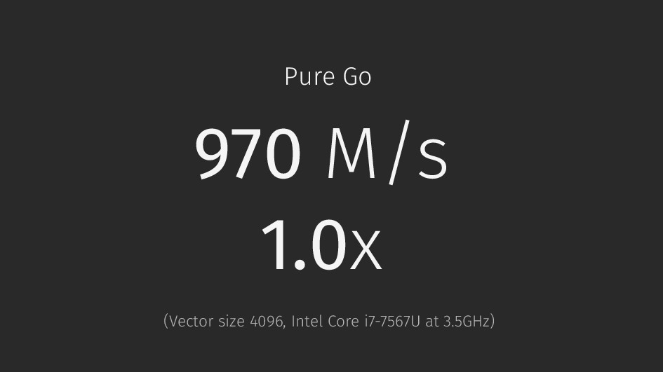Pure Go 970 M/s 1.0x (Vector size 4096, Intel C...