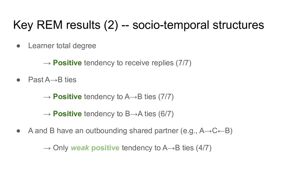 Key REM results (2) -- socio-temporal structure...