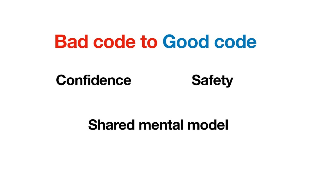 Bad code to Good code Confidence Safety Shared ...