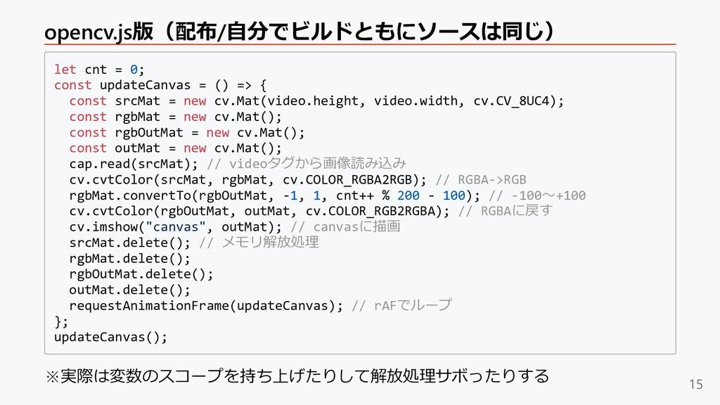 opencv.js版(配布/⾃分でビルドともにソースは同じ) let cnt = 0; con...