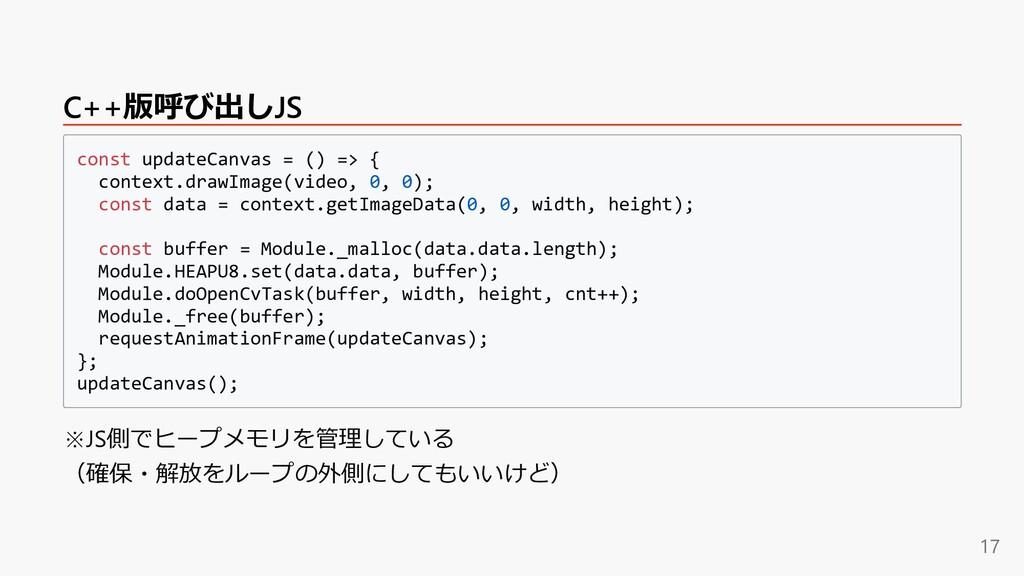 C++版呼び出しJS const updateCanvas = () => { context...