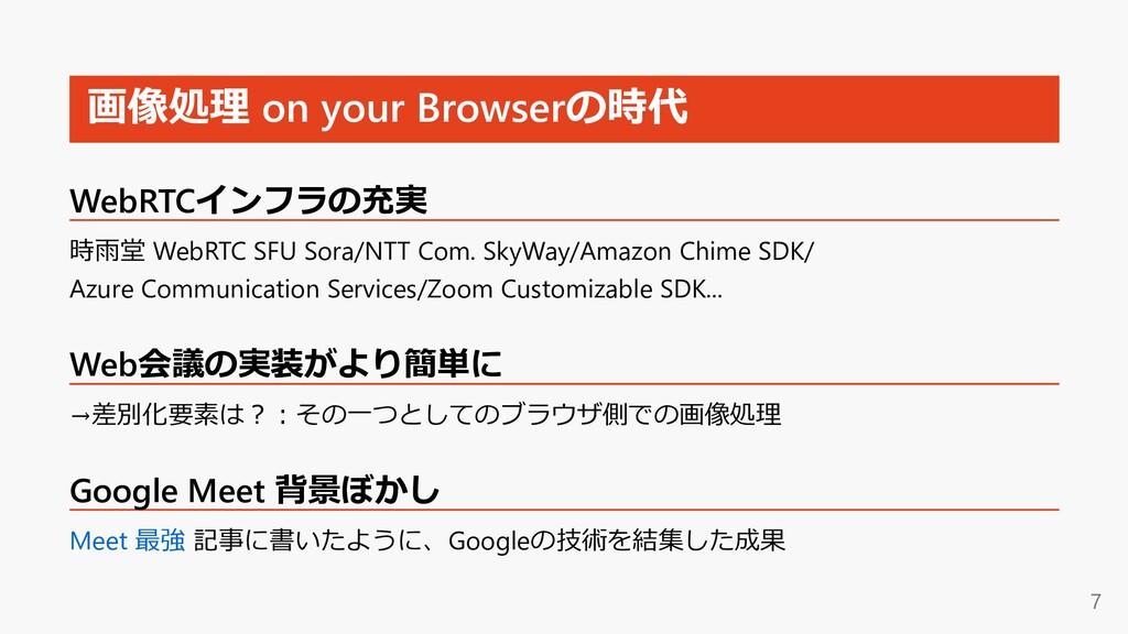 画像処理 on your Browserの時代 WebRTCインフラの充実 時⾬堂 WebRT...