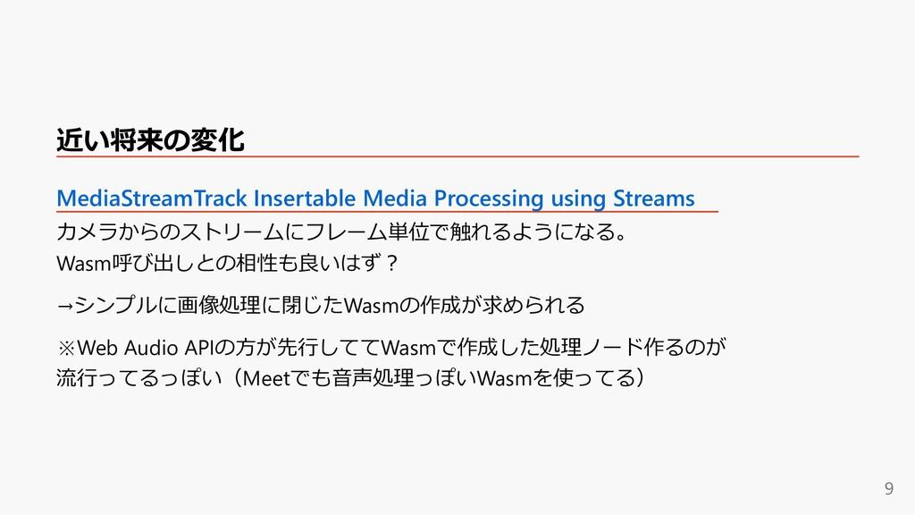近い将来の変化 MediaStreamTrack Insertable Media Proce...