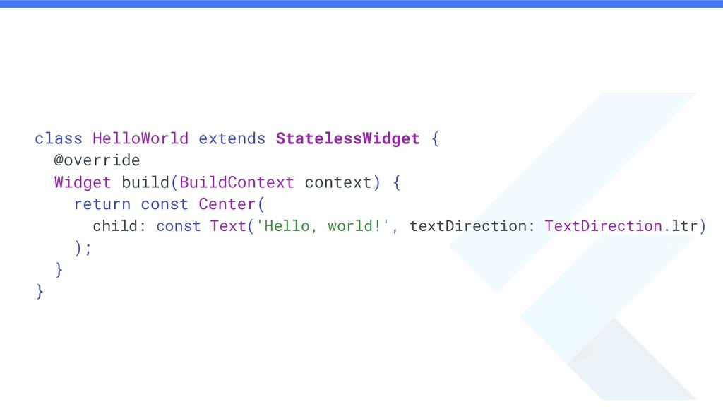 class HelloWorld extends StatelessWidget { @ove...