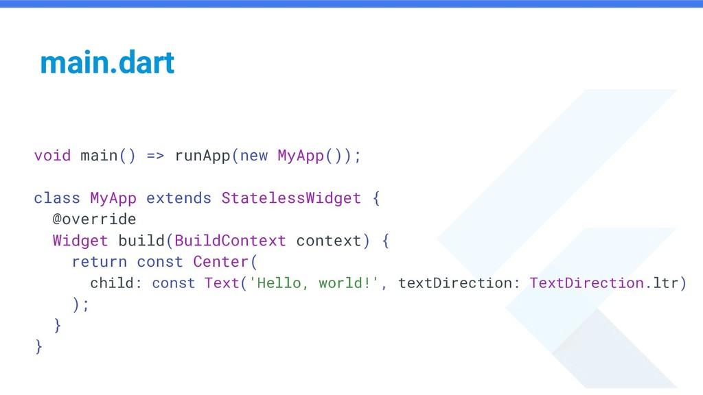 void main() => runApp(new MyApp()); class MyApp...