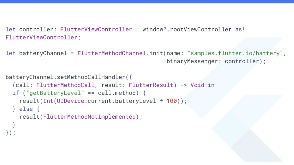 let controller: FlutterViewController = window?...