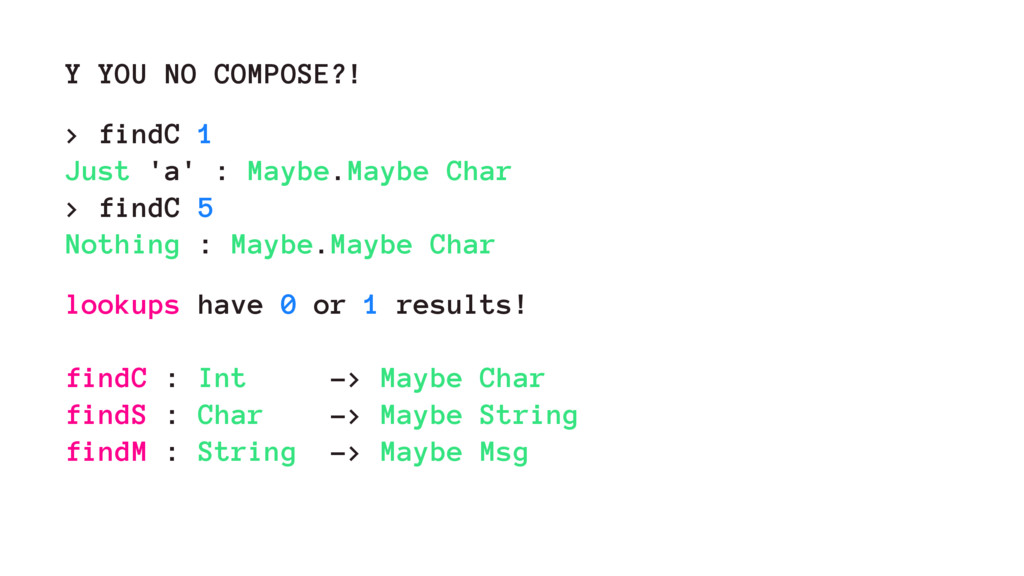Y YOU NO COMPOSE?! > findC 1 Just 'a' : Maybe.M...