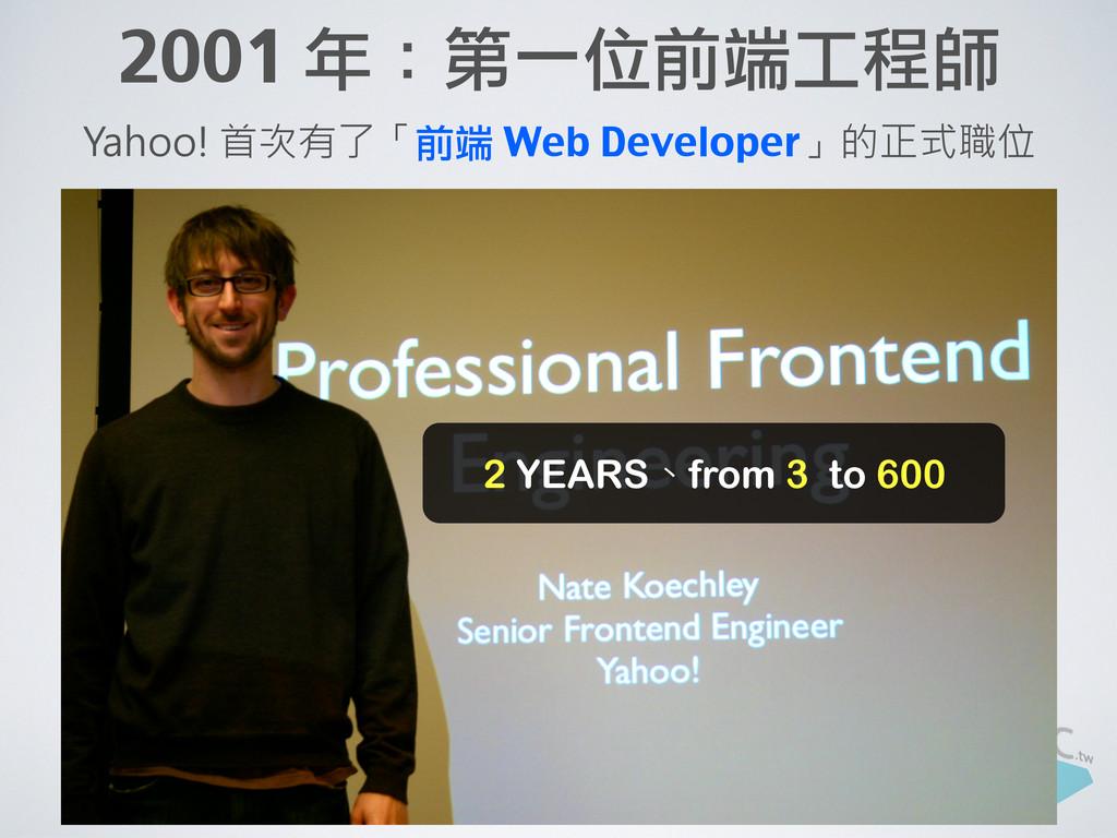 2001 年:第一位前端工程師 Yahoo! 首次有了「前端 Web Developer」的正...