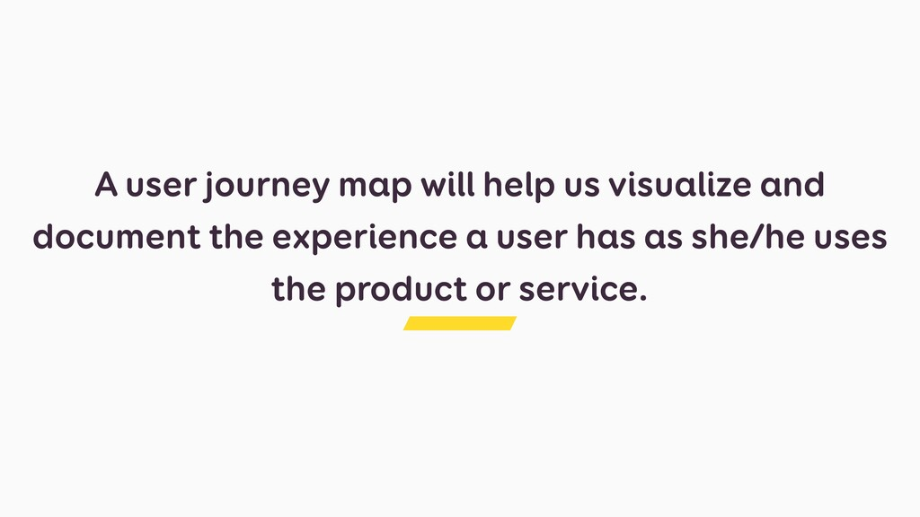 A user journey map will help us visualize and d...