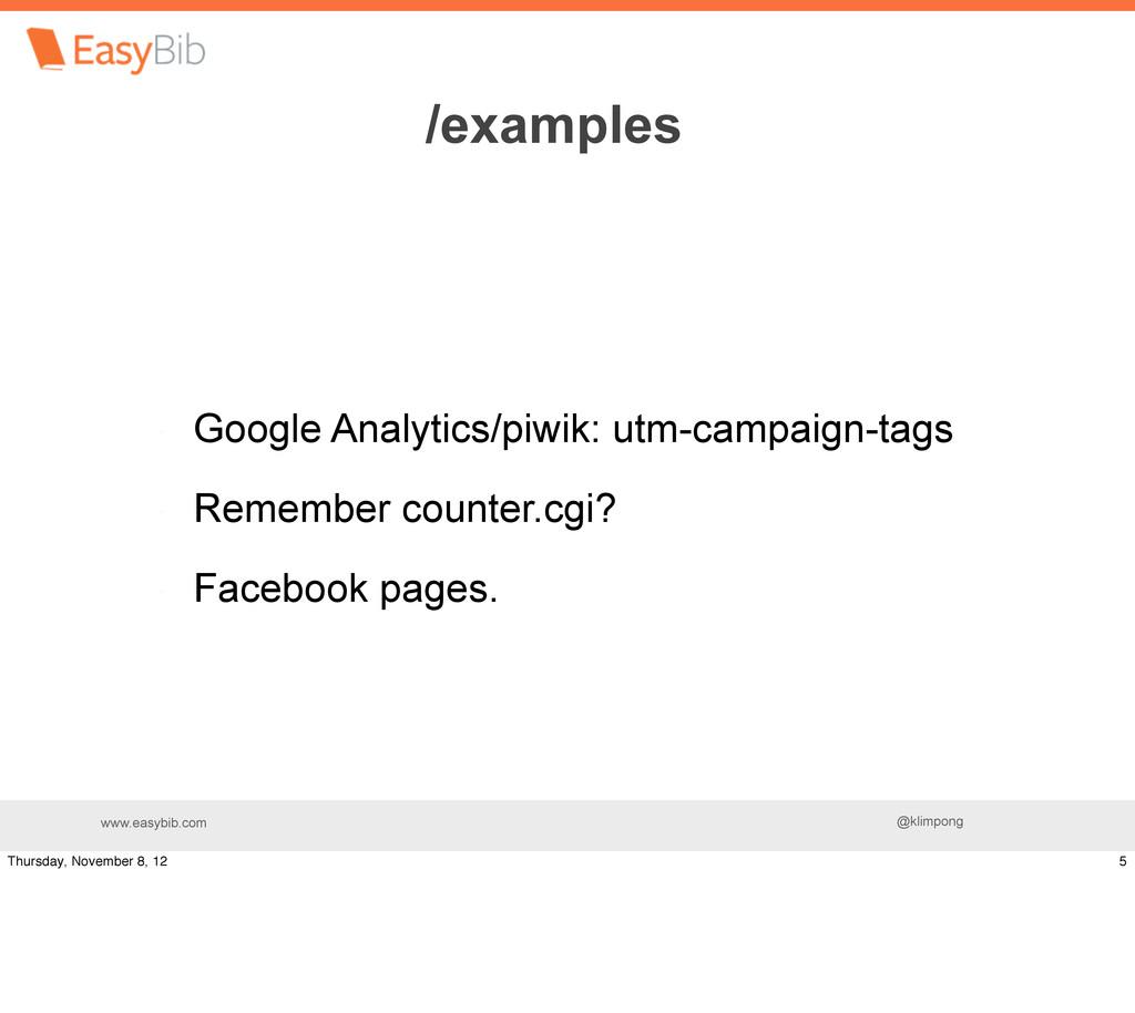 www.easybib.com @klimpong Google Analytics/piwi...