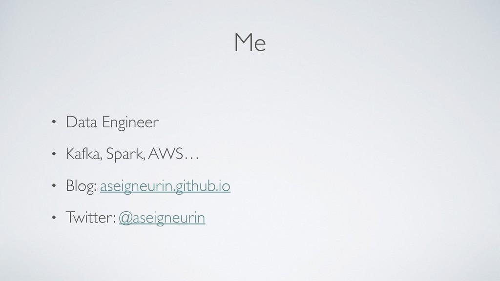 Me • Data Engineer • Kafka, Spark, AWS… • Blog:...