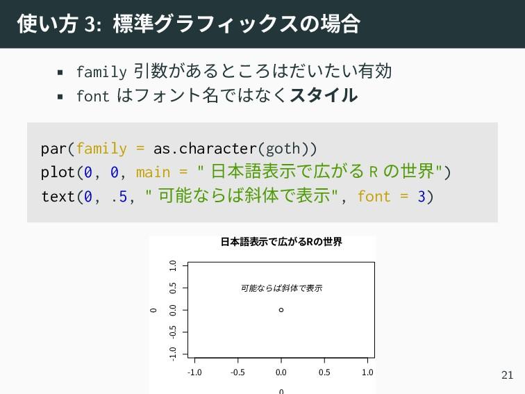 使い方 3: 標準グラフィックスの場合 • family 引数があるところはだいたい有効 • ...