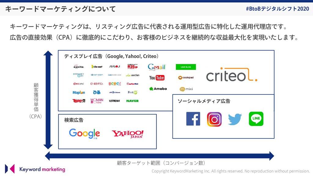 #BtoBデジタルシフト2020 キーワードマーケティングは、リスティング広告に代表される運用...