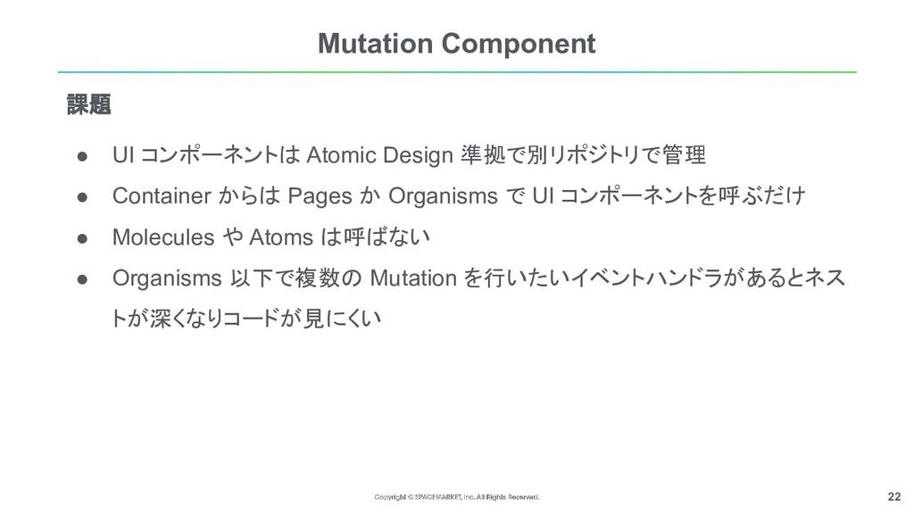 22 Mutation Component ● UI コンポーネントは Atomic Desi...