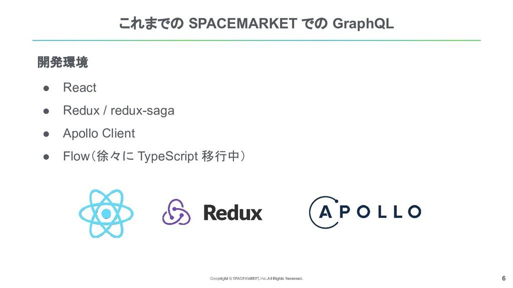 6 これまでの SPACEMARKET での GraphQL ● React ● Redux ...