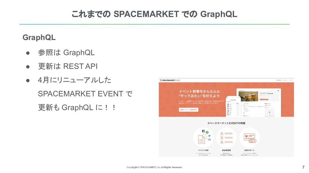 7 これまでの SPACEMARKET での GraphQL ● 参照は GraphQL ● ...