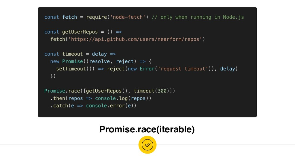 Promise.race(iterable)