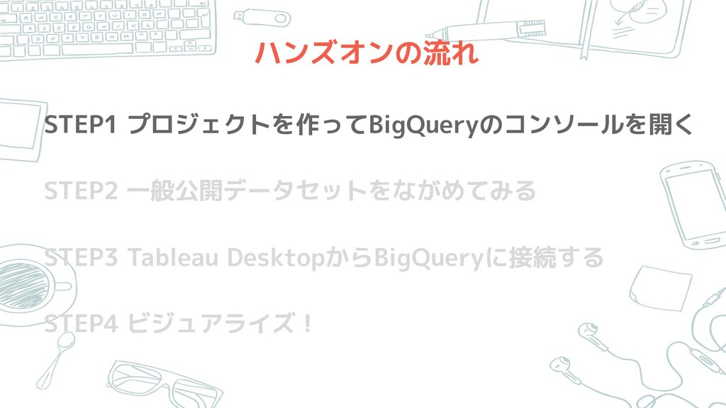 ハンズオンの流れ STEP1 プロジェクトを作ってBigQueryのコンソールを開く STEP...