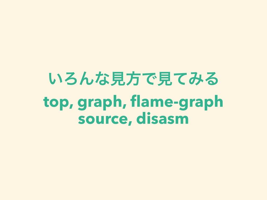 ͍ΖΜͳݟํͰݟͯΈΔ top, graph, flame-graph source, disa...