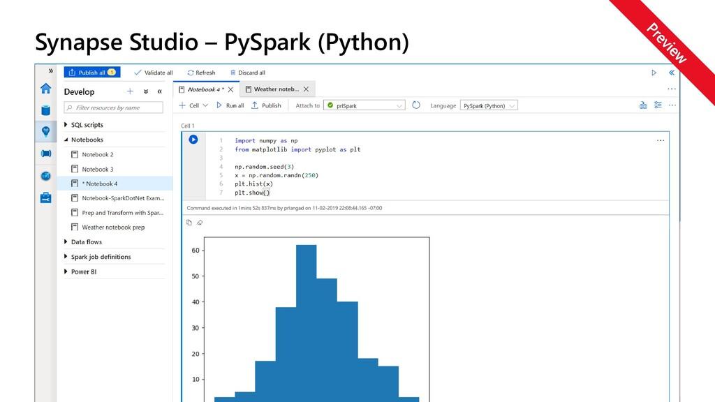 Synapse Studio – PySpark (Python)