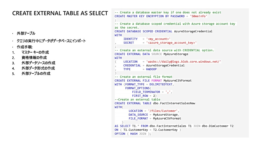 CREATE EXTERNAL TABLE AS SELECT -- Create a dat...