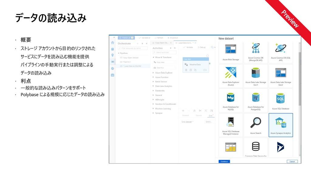 データの読み込み  概要  ストレージ アカウントから目的のリンクされた サービスにデータ...