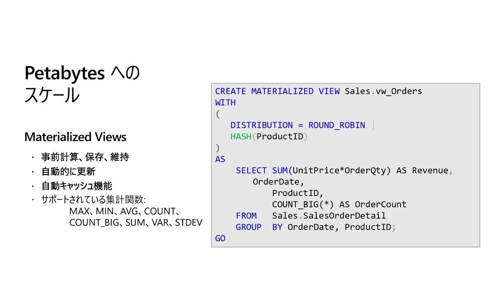  サポートされている集計関数: MAX、MIN、AVG、COUNT、 COUNT_BIG、S...