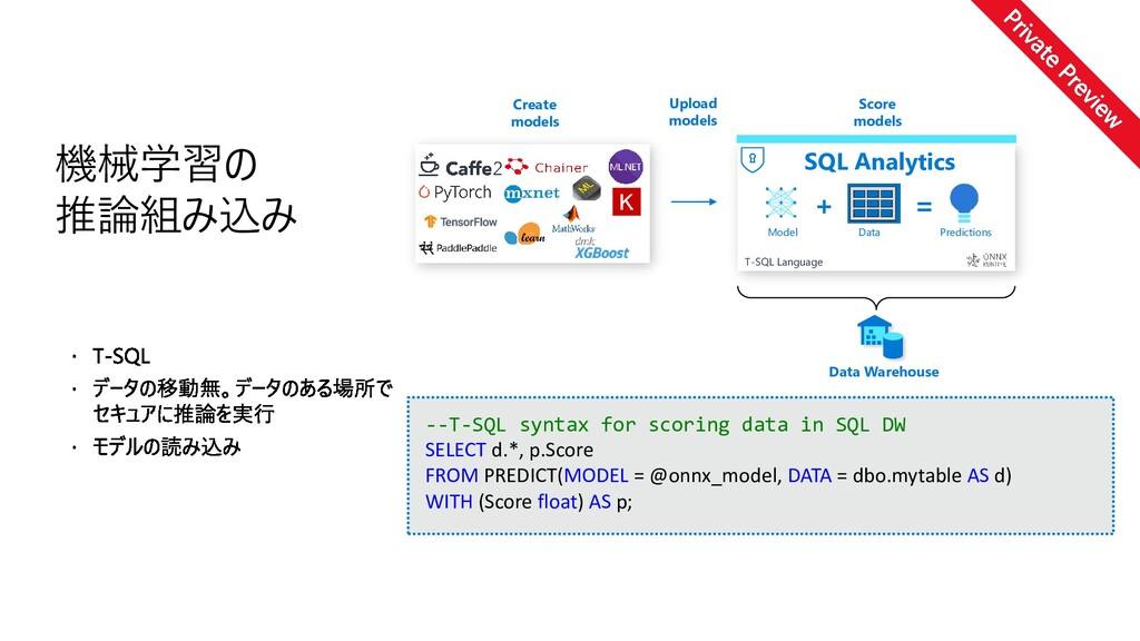--T-SQL syntax for scoring data in SQL DW SELEC...